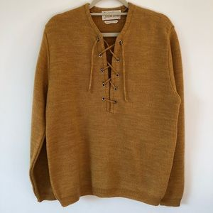Vintage mustard lace up sweater